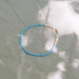 Pearls & turkoois anklet