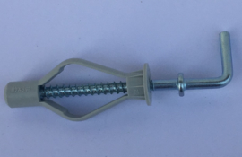 Nylon lichte hollewandplug + rechte haak  8 x 40mm  25 stuks