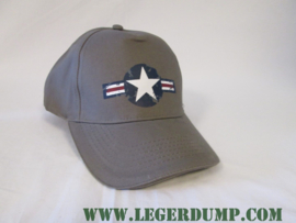 Baseball cap grijs met blauw / wit / rood en witte ster