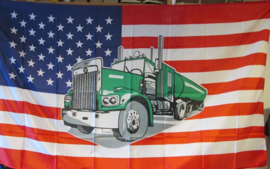 US flag with truck (1,5 x 1 meter)