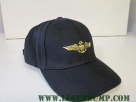 Baseball cap Navy Pilot zwart goud