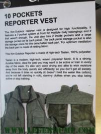 Reportervest groen met 10 zakken