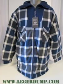 Thermo overhemd blauw/zwart met fleece voering