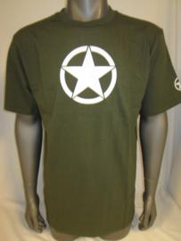 T-shirt groen met kleine witte  ster