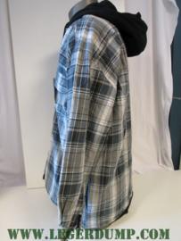Thermo overhemd zwart/wit met fleece voering en capuchon