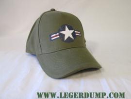 Baseball cap  groen met blauw/wit/rood en witte ster