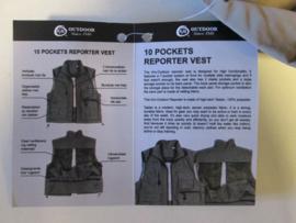 Reportervest  Khaki  met 10 zakken