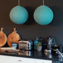 Mint blauwe hanglamp rond