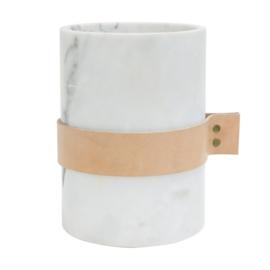 Wit marmeren pot met leer div. afmetingen