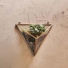 Muurvaas glas driehoek- antiek messing
