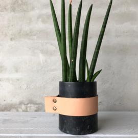 Zwart marmeren pot met leer div. afmetingen