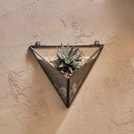 Muurvaas glas driehoek- zwart