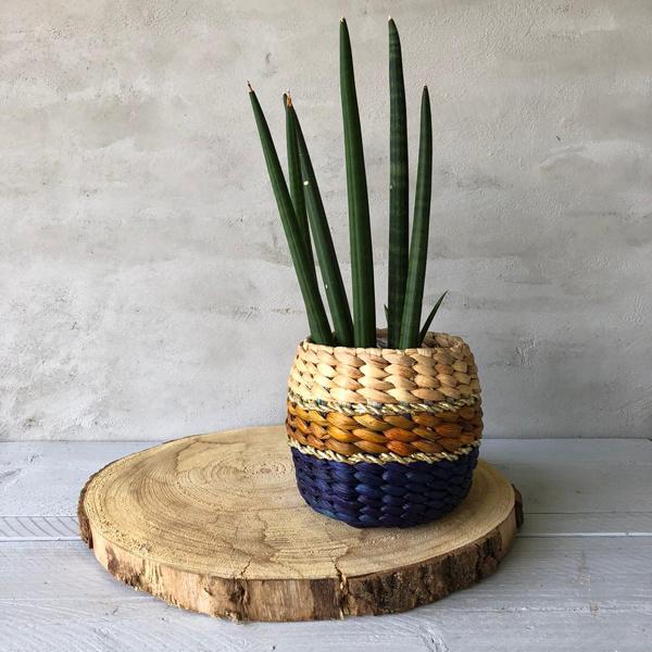 Blauw/bruin plantenmandje- 16x16