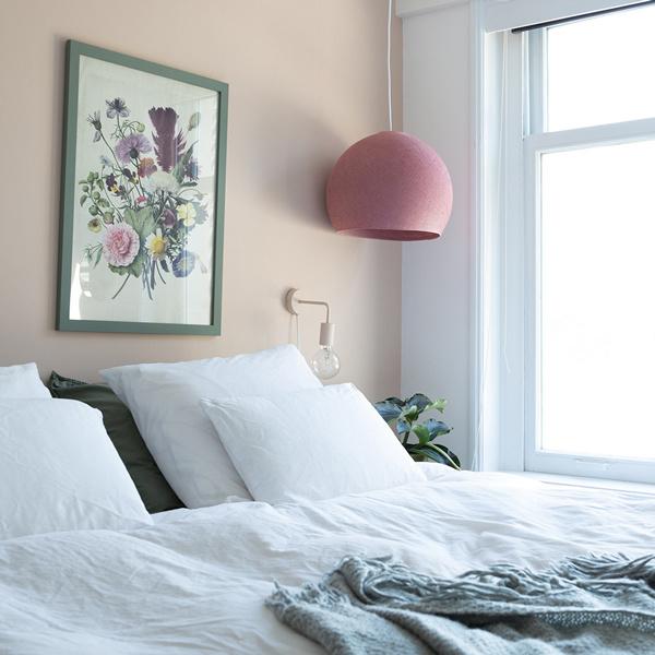 Hanglamp halve bol warm roze