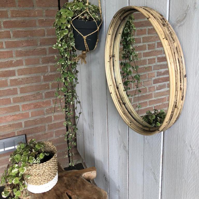 Ronde rotan spiegel  Ø40