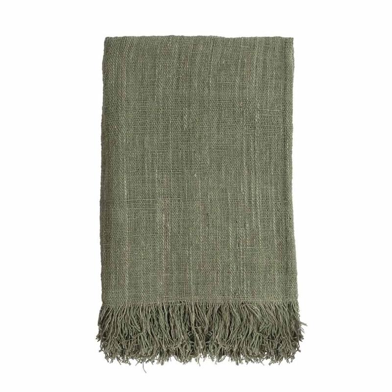 Handgeweven zachte plaid- bamboe groen 200 x 130