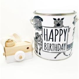Kado blik - Happy Birthday Zebra 2,5 ltr