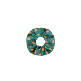 Satin dots green - scrunchie