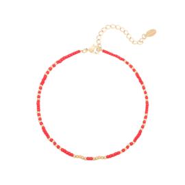Enkelbandje 'Mystic beads' - Rood