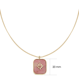 Ketting 'Steel Star' - Goud&Rood