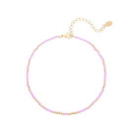 Enkelbandje 'Mystic beads' - Paars