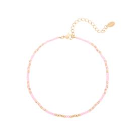 Enkelbandje 'Mystic beads' - Roze