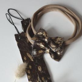 Haarbandje strik -  donkerbruin met goud