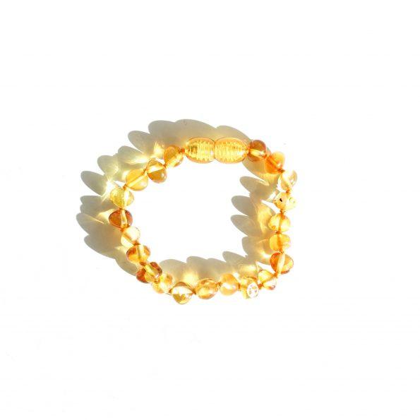 Amberkleurige baby armband/enkelband - Honing