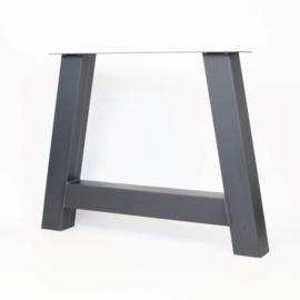 Stalen A poot / onderstel koker 10x10 cm, set van 2, incl. coating.