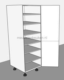 Voorraadkast voorzien van 5 verstelbare legplanken en 1 vaste bodem.