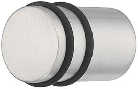 Deurknop/meubelknop RVS met rubbere ringen