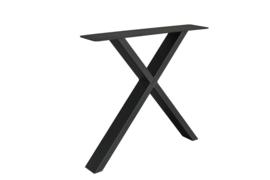 Stalen X kruispoot koker 10x4 cm, set van 2, incl. coating.