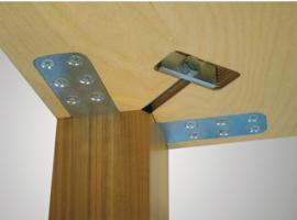 Tafelpootbevestiging, gelijkliggend met tafelblad