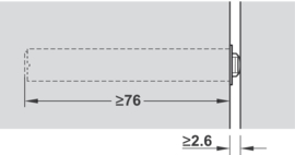 Druksnapper (Tip-On) lange versie  met buffer en ruime uitstootweg