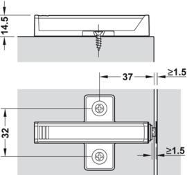 Kruisadapterplaat voor lange druksnapper (Tip-On)