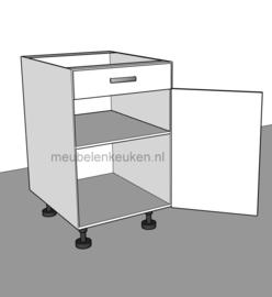 Onderkast met 1 lade, 1 deur en 1 verstelbare legplank.