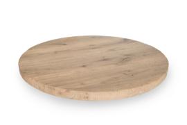 Massief rustiek eiken tafelblad rond met een dikte van 4,5 cm, geborsteld