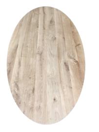 Massief rustiek eiken tafelblad ovaal met een dikte van 4,5 cm, geborsteld