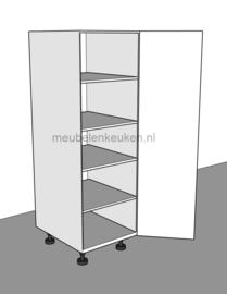 Voorraadkast voorzien van 4 verstelbare legplanken.