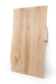 Massief eiken boomstam tafelblad met een dikte van 3 cm, geborsteld