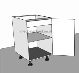 Spoelkast met volle deur, verticale blende, 1 verstelbare legplanken en alu-lekbak GREEPLOOS