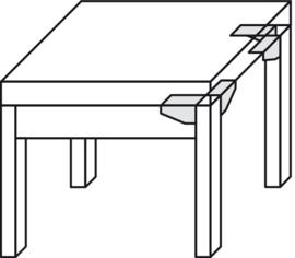 Hoekbeslag/tafelbeslag zonder schroefgaten