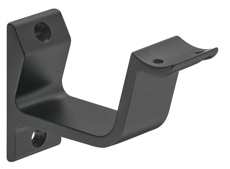 Leuninghouder Aluminium Zwart (gebogen steun)
