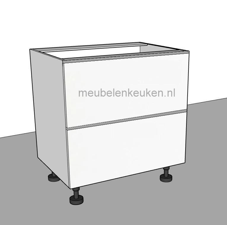 Spoelkast met 1 lade en 1 korflade van 400 mm diep, verticale blende en alu-lekbak GREEPLOOS