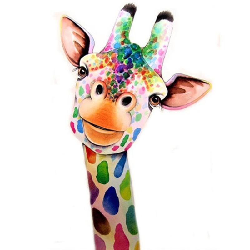 diamond painting gekleurde giraffe