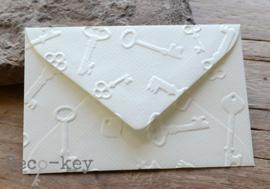 Mini envelop met sleutels afdruk in vele kleuren
