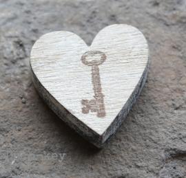 Houten hartje stempel sleutel
