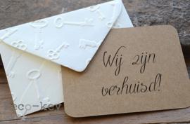 Envelopje sleutel afdruk & kaartje eigen tekst