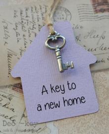 Label huisje sleutel met eigen tekst in vele kleuren