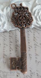 Retro sleutel kroontje koper